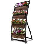 Hot New Outdoor Living Products $169.99 6-Ft Raised Garden Bed – Vertical Garden Freestanding Elevated Planter with 4 Container Boxes – Good for Patio or Balcony Indoor and Outdoor – Cascading Water Drainage (1-Pack/Espresso Brown)