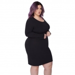 Hot Plus Size Dresses $29.99, Astra Signature Women' s Plus Size Sexy Casual Long Sleeve Scoop Neck Bodycon Sheath Midi Evening Party Dress,