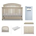 Hot New Baby Nursery Furniture Deals $1,599.99 Baby Nursery Furniture Set | Simmons Kids 6 Piece – Aden Convertible Crib, Dresser, Crib Mattress, Toddler Rail, Changing Top, Changing Pad, Antique White