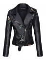 Hot New Women Leather Jacket Deals $51.99 Bellivera Women's Faux Leather Casual Short Jacket,Moto Floral Coat with 2 Pocket, for Spring and Autumn