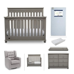 Hot New Baby Nursery Furniture Deals $1,799.99 Crib Furniture Set – 7 Piece Baby Nursery with Convertible Crib, Dresser, Glider, Crib Mattress, Toddler Rail, Changing Top, Changing Pad – Simmons Kids Franklin Storm Grey/Dove Grey