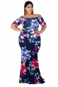 Hot Plus Size Dresses $19.99, FacnyPrintMe Women's Plus Size Maxi Dresses Printed Formal Party Dress,