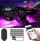 Hot Deals in Automotive Parts and Accessories $12.89 Govee Unifilar Car LED Strip Light, MINGER APP Controller Car Interior Lights, Waterproof Multicolor Music Under Dash Lighting Kits for iPhone Android Smart Phone, Car Charger Included, DC 12V