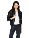 Hot New Women Leather Jacket Deals $59.99 Levi's Two-Pocket Faux Leather Hooded Bomber Jacket