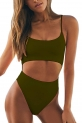 Hot One Piece Swimsuits $16.99, Meyeeka Womens Scoop Neck Cut Out Front Lace Up Back High Cut Monokini One Piece Swimsuit,