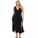 Hot Plus Size Dresses $31.99, ROSIANNA Women's Plus Size Maxi Long Dresses V-Neck, Sleeveless, Bodycon Side Slit,