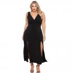 Hot Plus Size Dresses $31.99, ROSIANNA Women's Plus Size Maxi Long Dresses V-Neck, Sleeveless, Bodycon Side Slit,