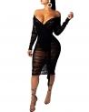 Hot Plus Size Dresses $18.99, Salimdy Women's Sexy V Neck Bodycon Mesh See Through Long Sleeve Sheer Club Midi Dress Plus Size,