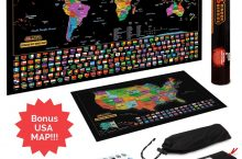 Hot New Gift Deals $11.84 Scratch Off Map Of The World / United States USA , Scratchable Travel Wall Art , Large World Map Poster , Travel Tracker w/ US State & Country Flags – Memory Stickers , Magnifier & Scratch Art Tool