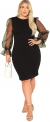 Hot Plus Size Dresses $28.99, SheIn Women's Plus Size Elegant Mesh Contrast Pearl Beading Sleeve Stretchy Bodycon Pencil Dress,