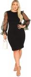 Hot Plus Size Dresses $28.99, SheIn Women's Plus Size Elegant Mesh Contrast Pearl Beading Sleeve Stretchy Bodycon Pencil Dress,
