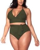 Hot New Plus Size Swimwear $25.99, Sovoyontee Women's Plus Size High Waisted Tummy Control Swimwear Swimsuit Full Coverage,