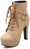 Hot New Women's Winter Boot Deals $29.99 Susanny Women Autumn Round Toe Lace Up Ankle Buckle Chunky High Heel Platform Knight Martin Boots