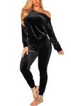 Curvy Outfits for Women VamJump Women Velvet Off Shoulder Sweatshirt Jogger Pants Two Piece Set Tracksuit $28.99,