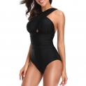 Hot New Plus Size Swimwear $15.59, W YOU DI AN Women's Swimsuits One Piece Tummy Control Front Cross Backless Swimsuit Bathing Suit,