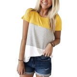 Hot New Online Offers  $15.99 YunJey Short Sleeve and Long Sleeve Round Neck Triple Color Block Stripe T-Shirt Casual Blouse